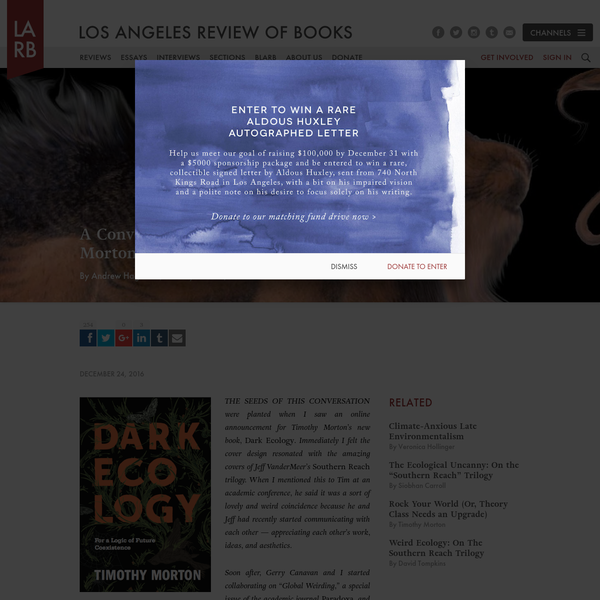 A Conversation Between Timothy Morton and Jeff VanderMeer - Los Angeles Review of Books
