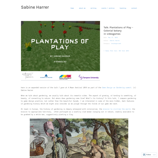 Talk: Plantations of Play – Colonial botany in videogames – Sabine Harrer