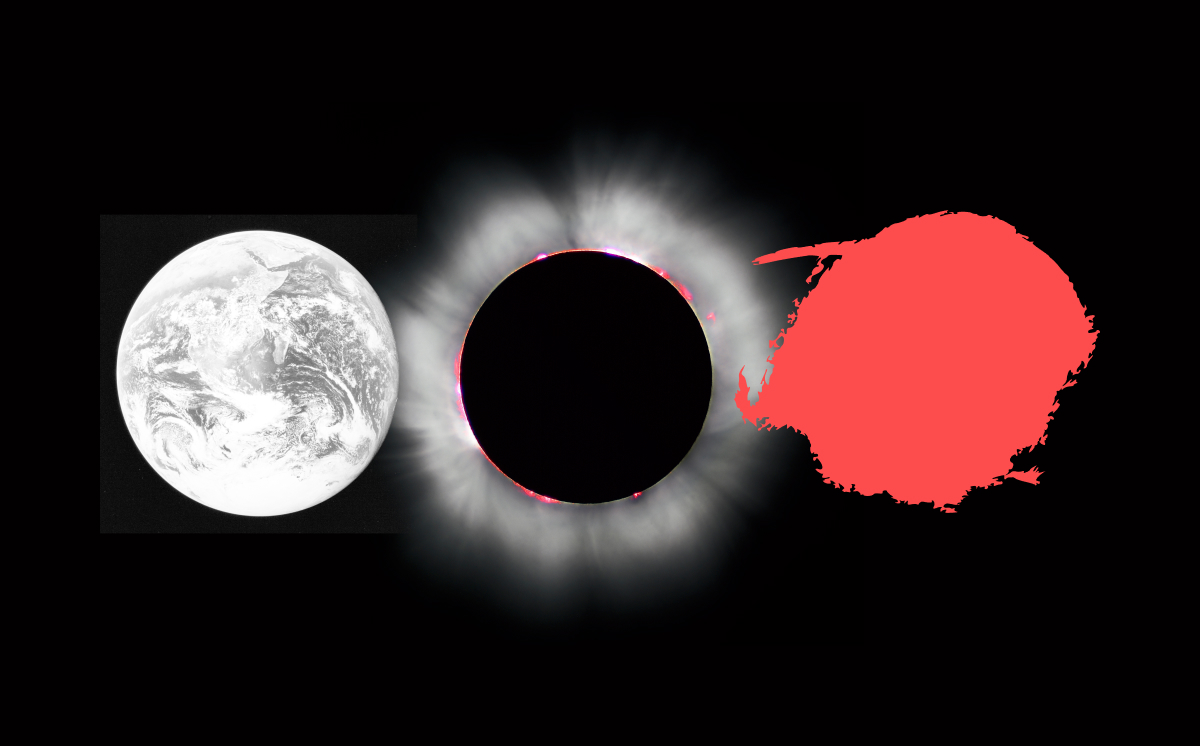 An ellipsis made from the Earth, a stellar corona and a blob of red