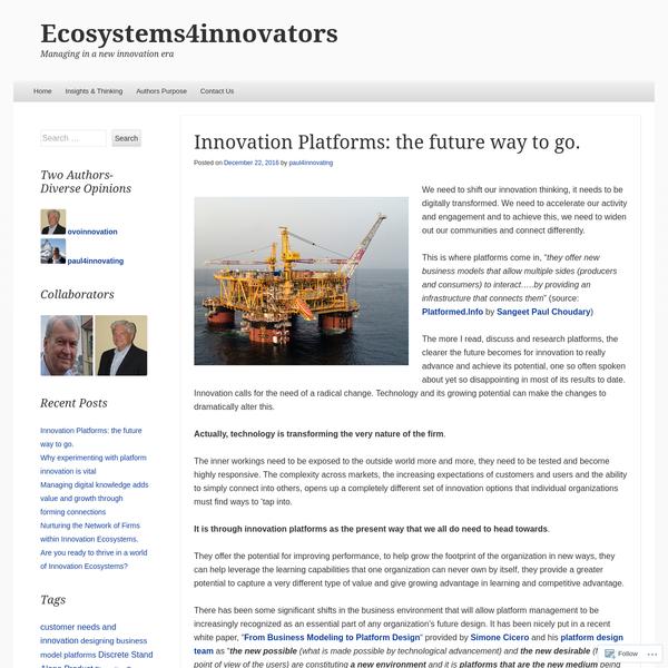 Innovation Platforms: the future way to go.