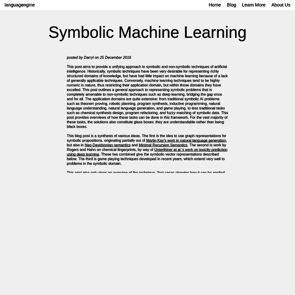 This post aims to provide a unifying approach to symbolic and non-symbolic techniques of artificial intelligence. Historically, symbolic techniques have been very desirable for representing richly structured domains of knowledge, but have had little impact on machine learning because of a lack of generally applicable techniques.