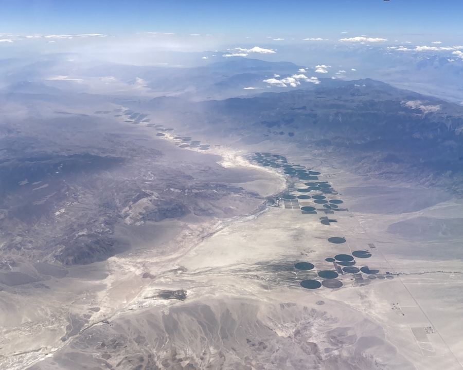 photo out the plane window, looking south somewhere near the nevada/california border