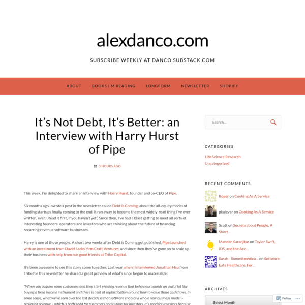 It's Not Debt, It's Better: an Interview with Harry Hurst of Pipe