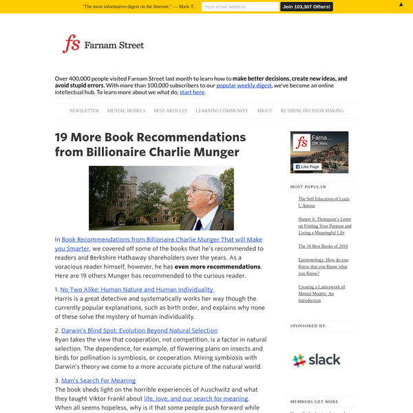 In Book Recommendations from Billionaire Charlie Munger That will Make you Smarter, we covered off some of the books that he's recommended to readers and Berkshire Hathaway shareholders over the years. As a voracious reader himself, however, he has even more recommendations. Here are 19 others Munger has recommended to the curious reader.