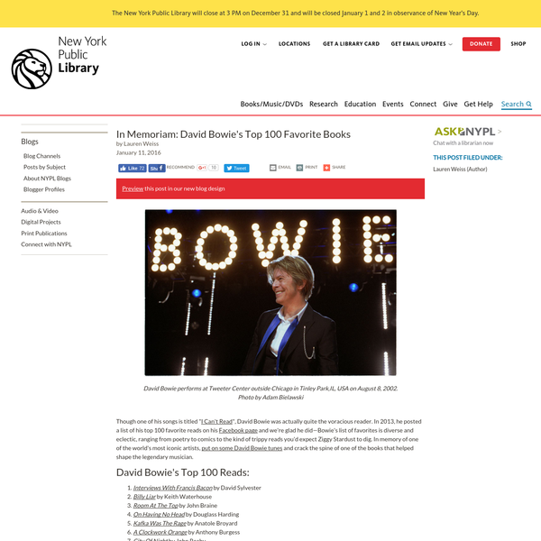 """Though one of his songs is titled """" I Can't Read"""", David Bowie was actually quite the voracious reader. In 2013, he posted a list of his top 100 favorite reads on his Facebook page and we're glad he did-Bowie's list of favorites is diverse and eclectic, ranging from poetry to comics to the kind of trippy reads you'd expect Ziggy Stardust to dig."""