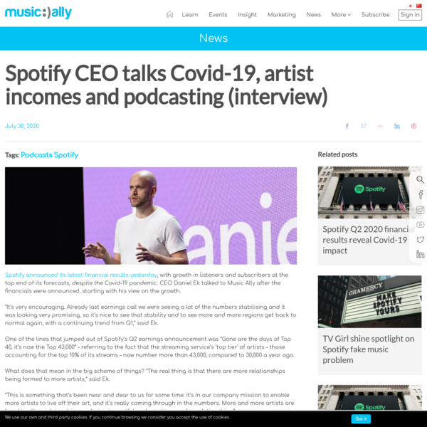 Spotify CEO talks Covid-19, artist incomes and podcasting (interview)