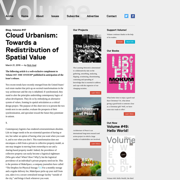 Cloud Urbanism: Towards a Redistribution of Spatial Value