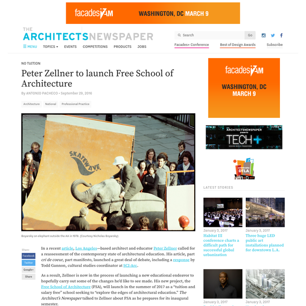 In a recent , by Todd Gannon, cultural studies coordinator at Los Angeles -based architect and educator Peter Zellner called for a reassessment of the contemporary state of architectural education. His article, part cri de coeur , part manifesto, launched a great deal of debate, including a .