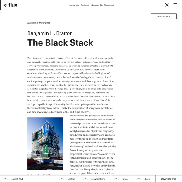 The Black Stack - Journal #53 March 2014 - e-flux