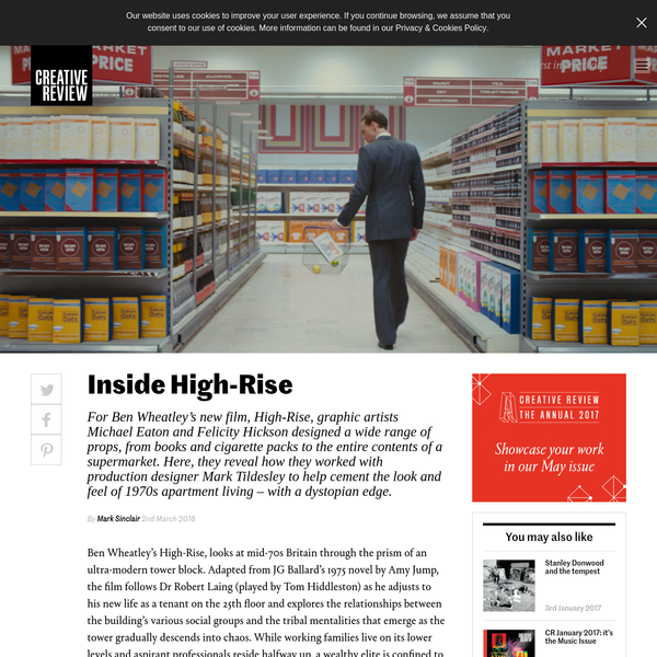 For Ben Wheatley's new film, High-Rise, graphic artists Michael Eaton and Felicity Hickson designed a wide range of props, from books and cigarette packs to the entire contents of a supermarket. Here, they reveal how they worked with production designer Mark Tildesley to help cement the look and feel of 1970s apartment living - with a dystopian edge.