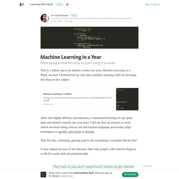 Machine Learning in a Year - Learning New Stuff