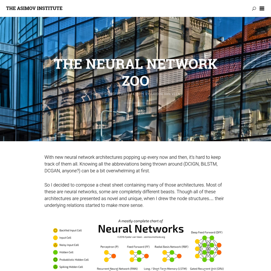 With new neural network architectures popping up every now and then, it's hard to keep track of them all. Knowing all the abbreviations being thrown around (DCIGN, BiLSTM, DCGAN, anyone?) can be a bit overwhelming at first. So I decided to compose a cheat sheet containing many of those architectures.