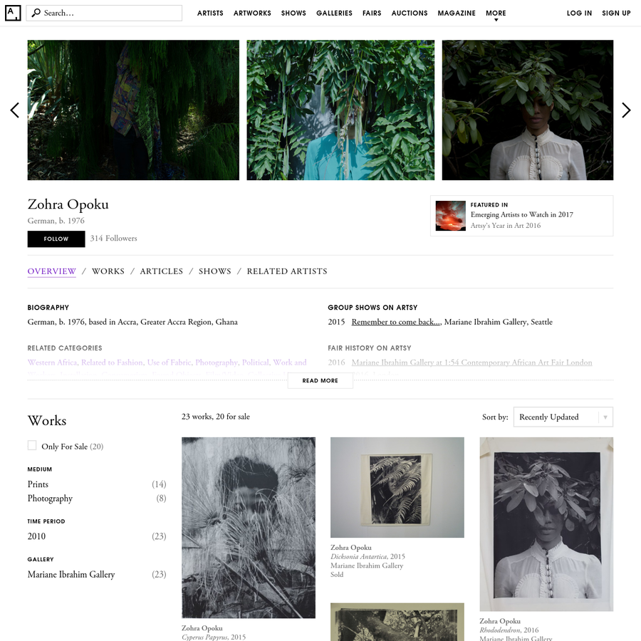 Find the latest shows, biography, and artworks for sale by Zohra Opoku