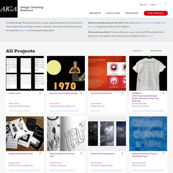 Design Teaching Resource – The AIGA Design Teaching Resource is a peer-populated platform for educators to share assignments, teaching materials, outcomes, and project reflections.