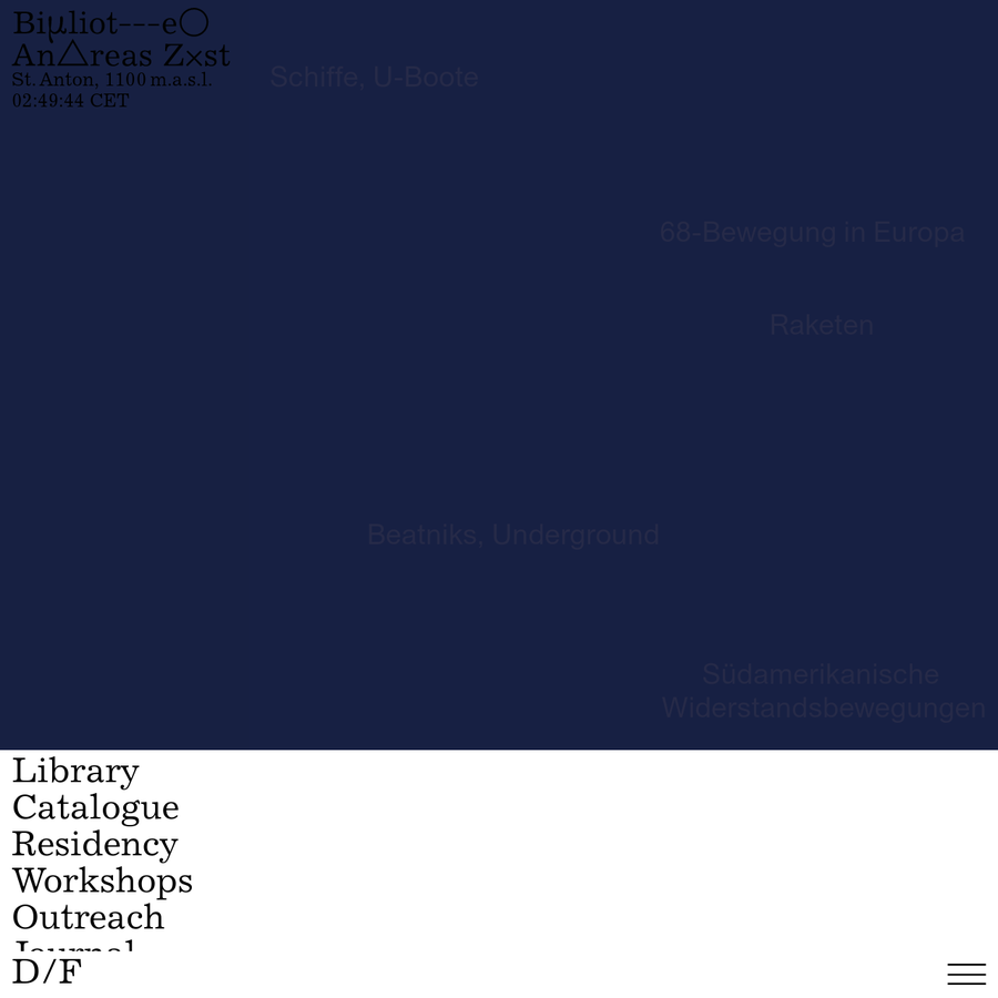 The Bibliothek Andreas Züst includes approximately 10,400 titles on topics ranging from, e.g., the weather, geology, astronomy, physics, literature, photography, art, kitsch, and popular culture.