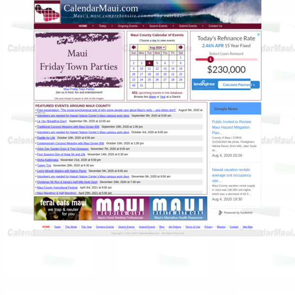 Calendar Maui - Maui's Most Comprehensive Community Events Calendar - Home Page