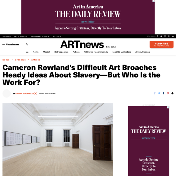 Cameron Rowland's Difficult Art Broaches Heady Ideas About Slavery-But Who Is the Work For?