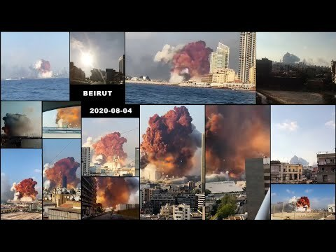 2020-08-04 Port of Beirut explosion - 15 angle supercut montage