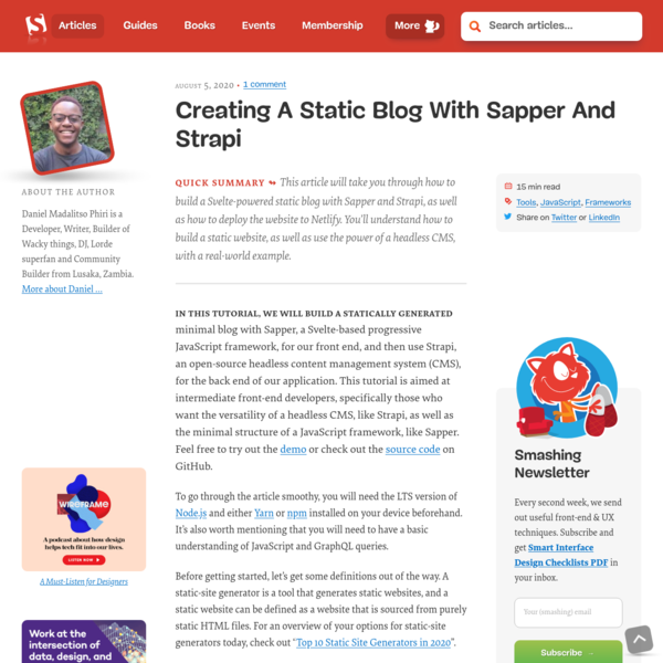 Creating A Static Blog With Sapper And Strapi - Smashing Magazine