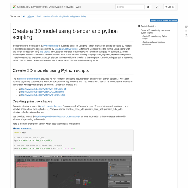 Are na / Create a 3D model using blender and python scripting