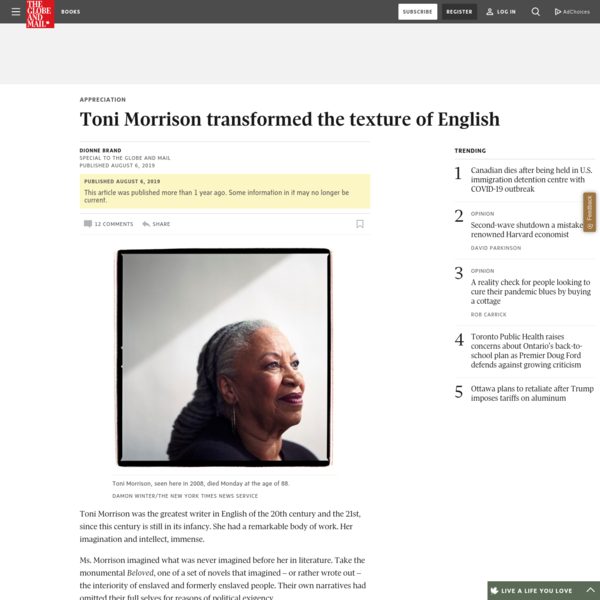 Toni Morrison transformed the texture of English - The Globe and Mail