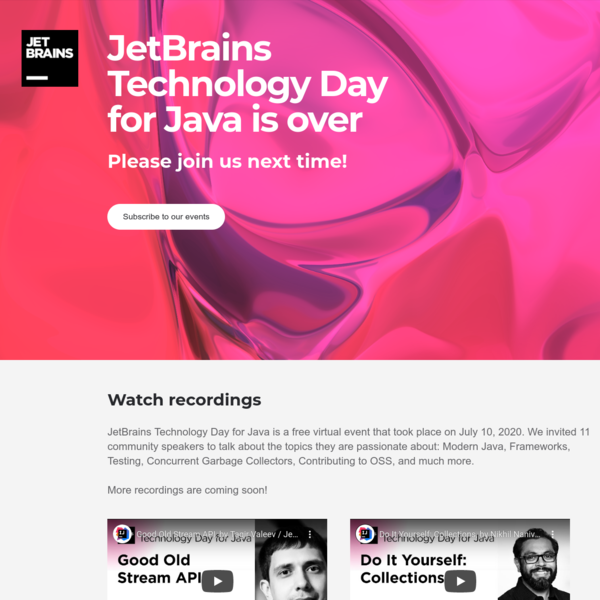 JetBrains Technology Day for Java