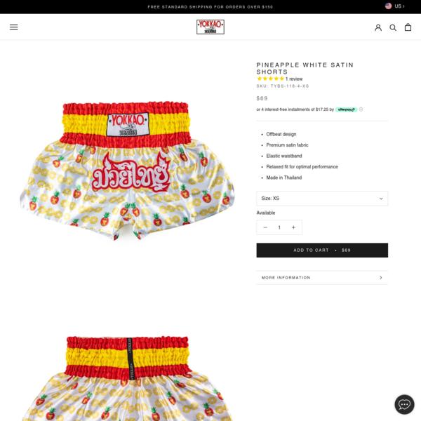Pineapple White Satin Shorts