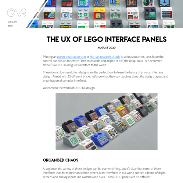 The UX of LEGO Interface Panels - George Cave