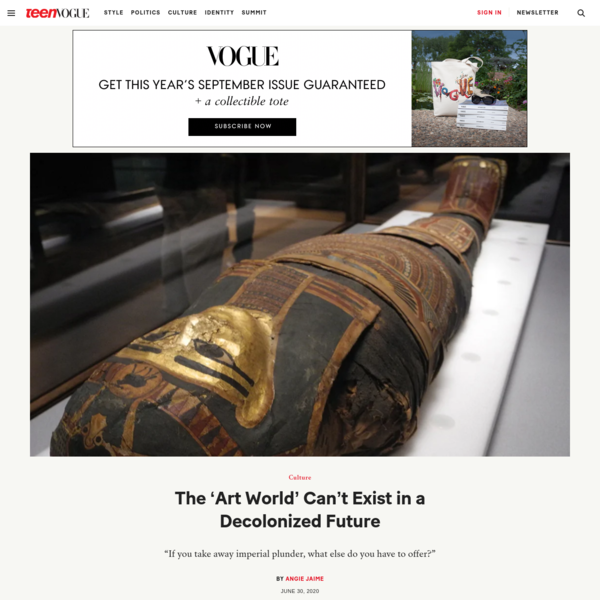 The 'Art World' Can't Exist in a Decolonized Future