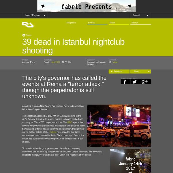 39 dead in Istanbul nightclub shooting