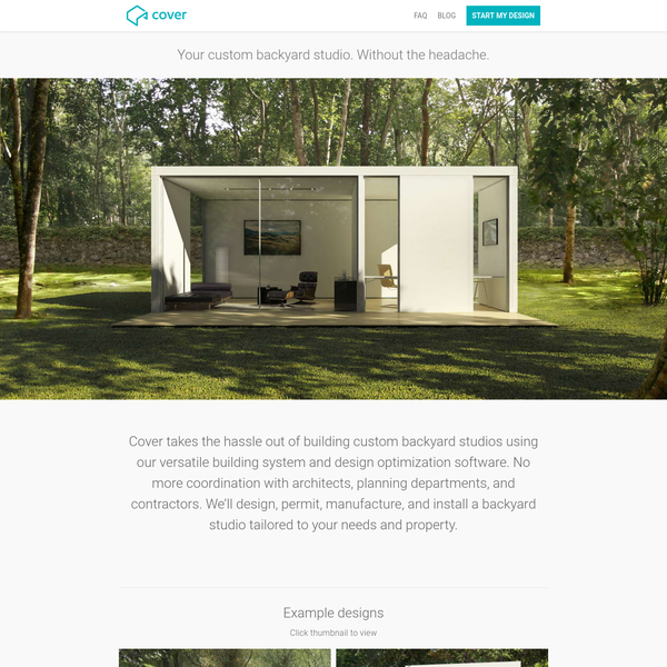 Cover designs and builds custom backyard studios - such as offices, pool-houses, guest rooms, modern sheds, Airbnb spaces, and more - all tailored to your needs and property.