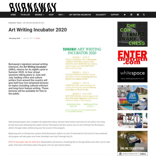 Art Writing Incubator 2020 - Burnaway