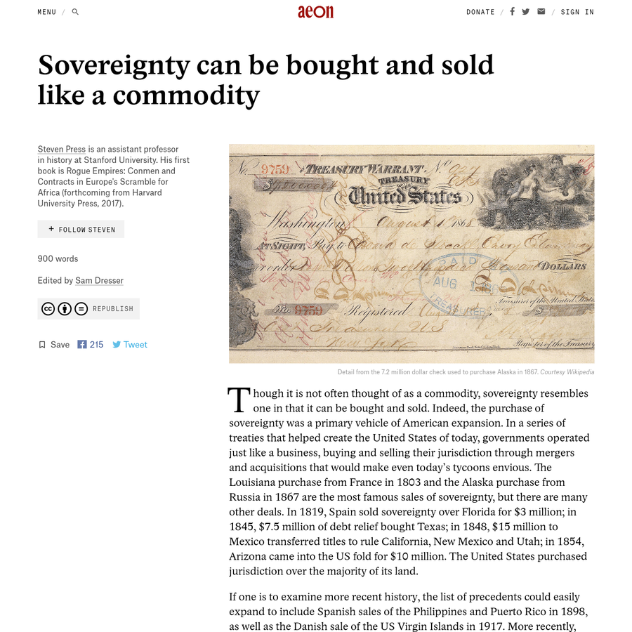 Though it is not often thought of as a commodity, sovereignty resembles one in that it can be bought and sold. Indeed, the purchase of sovereignty was a primary vehicle of American expansion. In a series of treaties that helped create the United S...