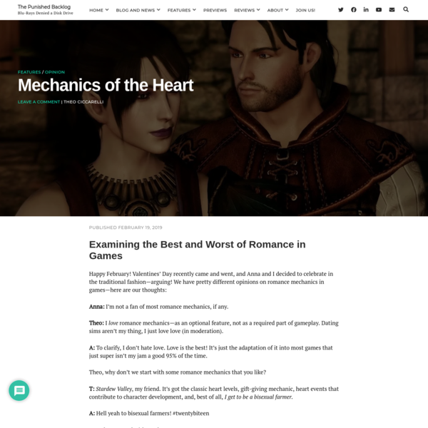 Romance in Games: Mechanics of the Heart | The Punished Backlog