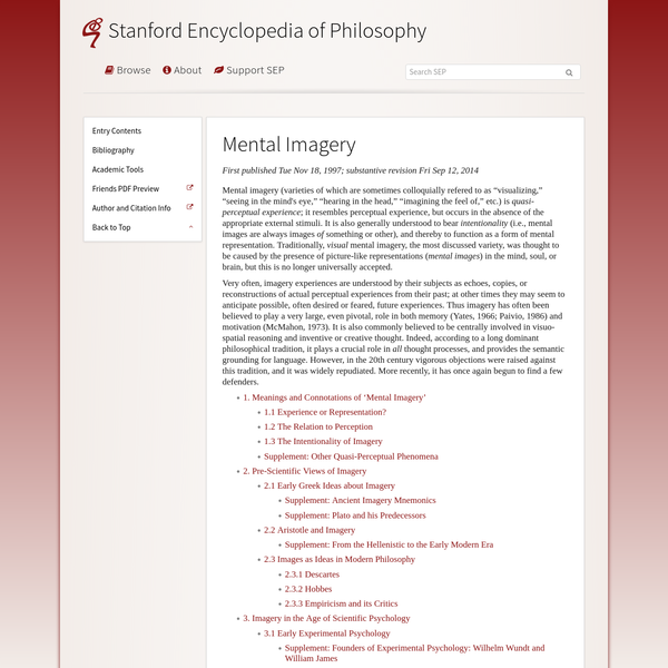 Mental Imagery (Stanford Encyclopedia of Philosophy)