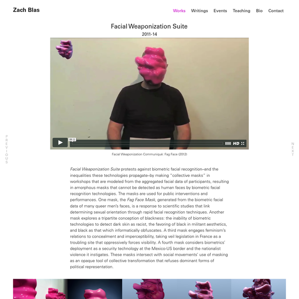 Facial Weaponization Suite - Zach Blas