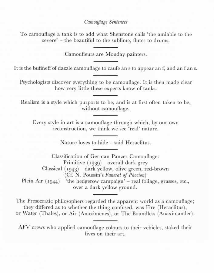 _Camouflage Sentences_, n.d. Abrioux, Yves, _Ian Hamilton Finlay: A visual primer_ (London: Reaktion Books, 1985) p. 170.
