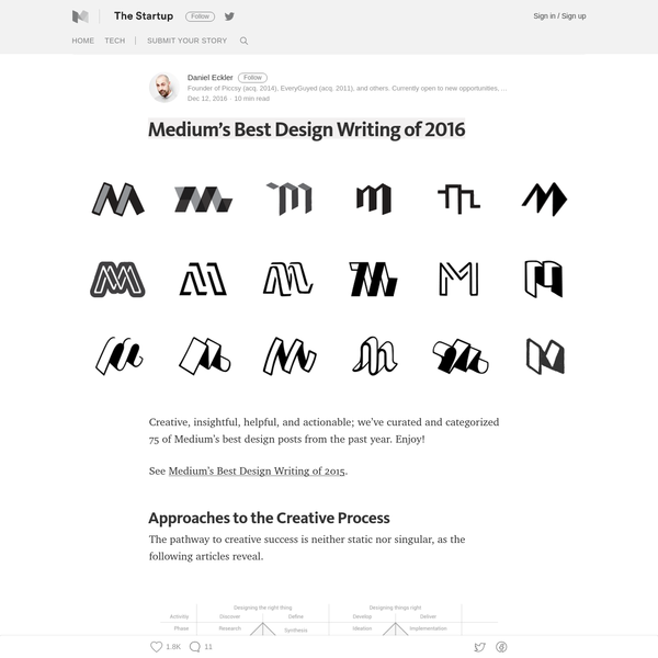 Creative, insightful, helpful, and actionable; we've curated and categorized 75 of Medium's best design posts from the past year. Enjoy! See Medium's Best Design Writing of 2015. The pathway to creative success is neither static nor singular, as the following articles reveal.