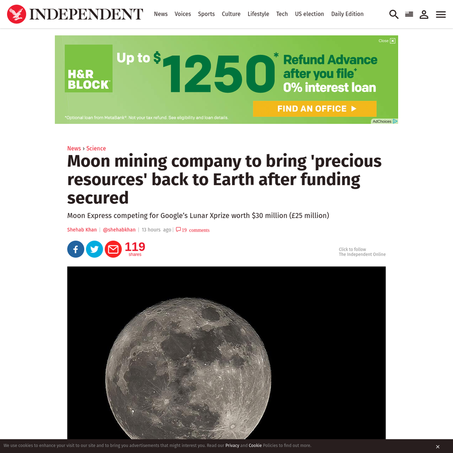 A company hoping to extract the Moon's natural resources has just completed a $20 million financing round. Moon Express, which is based in Silicon Valley, has received a total of $45 million (£37 million) in funding for its efforts a lunar lander.