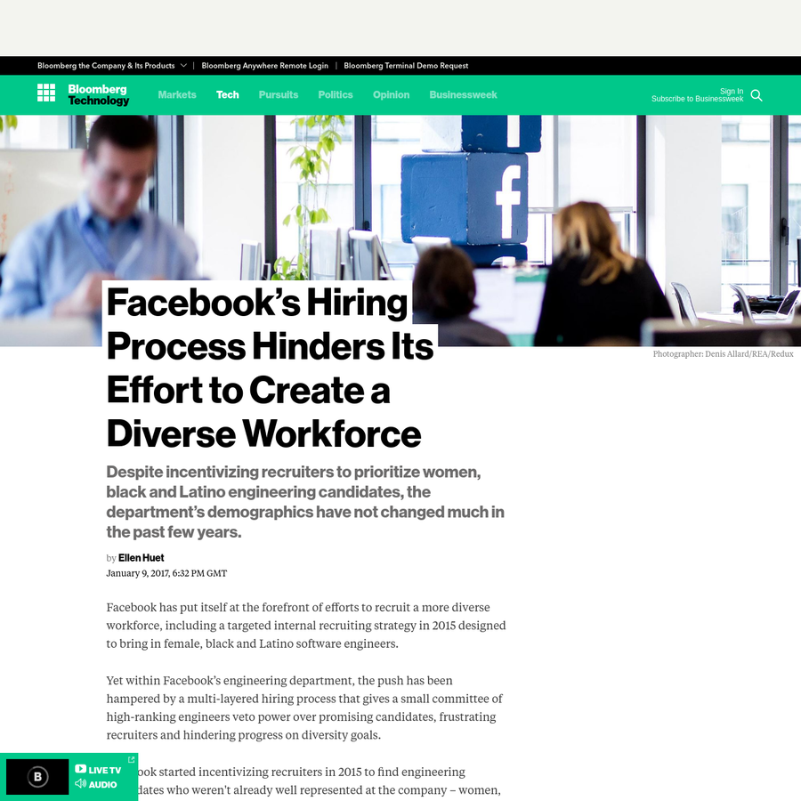 Facebook has put itself at the forefront of efforts to recruit a more diverse workforce, including a targeted internal recruiting strategy in 2015 designed to bring in female, black and Latino software engineers.