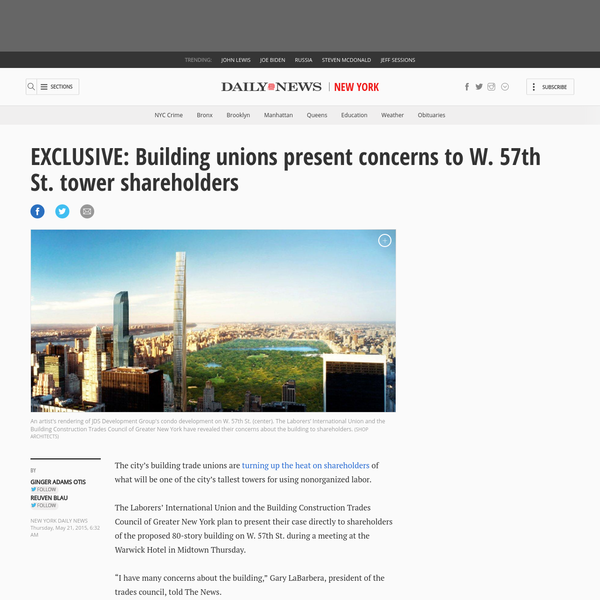 Building unions present concerns about W. 57th St. tower