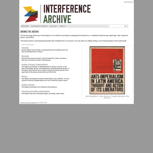 Interference Archive Catalog