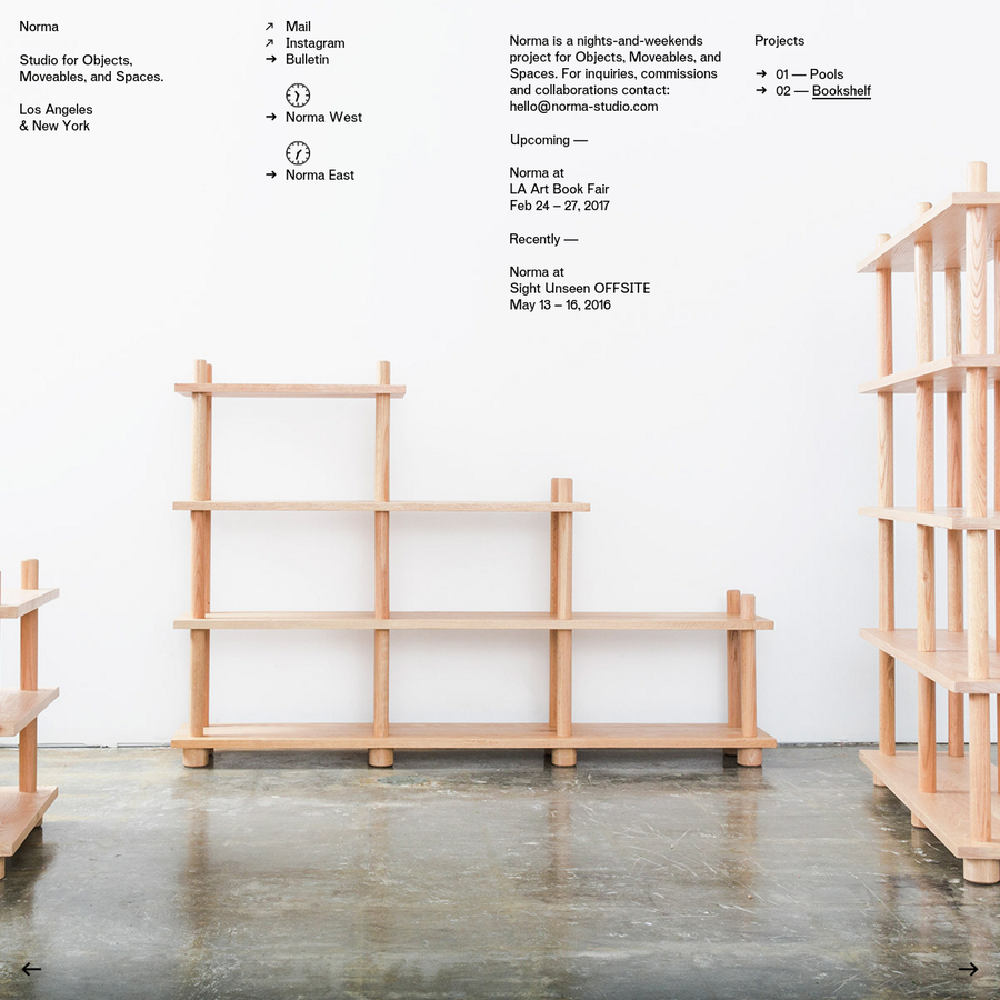 Norma is a studio for Objects, Moveables, and Spaces based in Los Angeles and New York.
