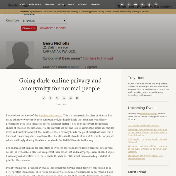 Going dark: online privacy and anonymity for normal people