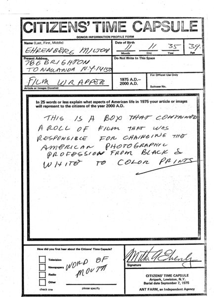 Forms distributed by the art & architecture collective Ant Farm, now known as LST, for their participatory time capsule projects in the '70s. Contributors were encouraged to fill out these forms, explaining what they wished the capsule's reveal in 2000 would illuminate of their time in the '70s. The capsule, a buried Vista Cruiser station wagon, was never uncovered, and so these forms can be seen now as artifacts of curated desire.
