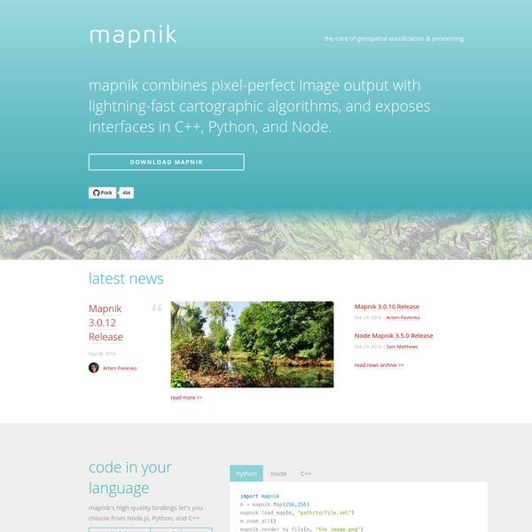 Mapnik.org - the core of geospatial visualization & processing