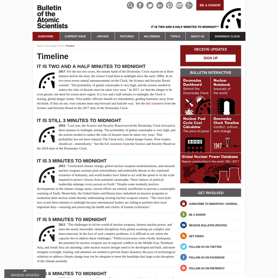 The Bulletin of the Atomic Scientists informs the public about threats to the survival and development of humanity from nuclear weapons, climate change, and emerging technologies in the life sciences. Through an award-winning magazine, our online presence, and the Doomsday Clock, we reach policy leaders and audiences around the world with information and analysis about efforts to address the dangers and prevent catastrophe.