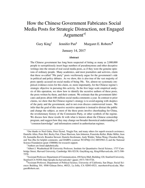 How the Chinese Government Fabricates Social Media Posts for Strategic Distraction, not Engaged Argument