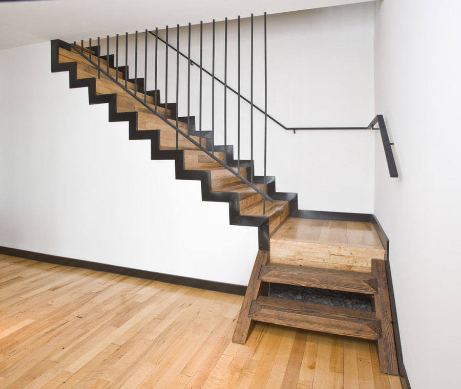 Stair Exciting Image Of Home Interior Stair  Design Using Black Iron Transparent Staircase Railing  Including Rustic Heart Pine Wood Staircase Treads And  ...