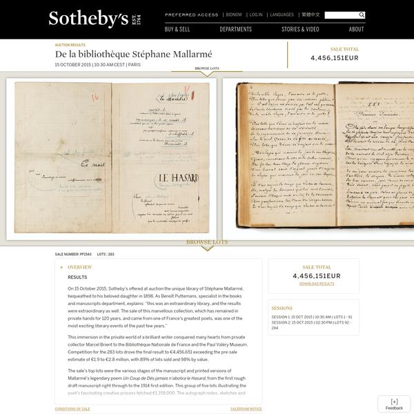 De la bibliothèque Stéphane Mallarmé | Sotheby's